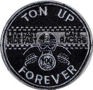 Ton Up Forever round sew-on embroidered patch (yy)